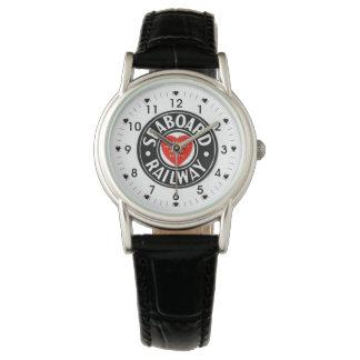 海岸の航空路鉄道のハートのロゴ 腕時計