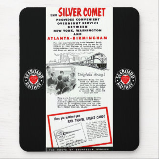 海岸の鉄道銀の彗星の列車 マウスパッド