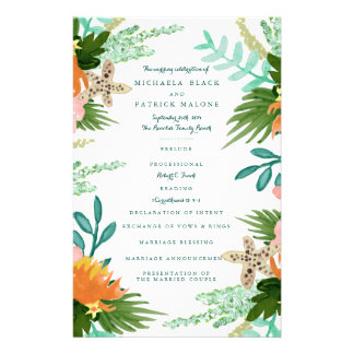 海岸線の結婚式プログラム チラシ