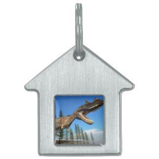 海岸線のCeratosaurusの恐竜- 3Dは描写します ペットネームタグ