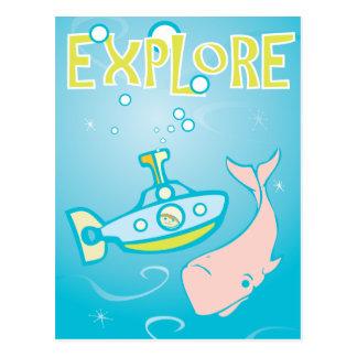 海底およびピンクのクジラ ポストカード