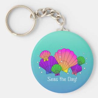 海日! 泡が付いているカリブのな貝殻 キーホルダー