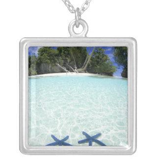 海星、石の島、パラオ諸島 シルバープレートネックレス