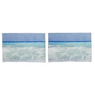 海景の海洋波の水彩画 枕カバー