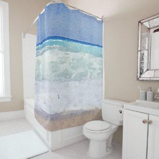 海景の航海のなビーチの水彩画 シャワーカーテン