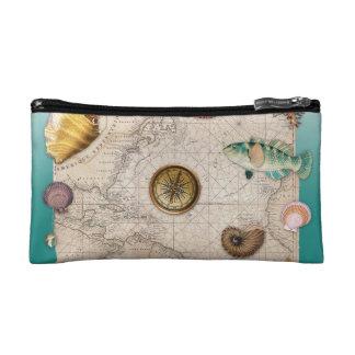 海洋のコラージュのアクアマリン コスメティックバッグ