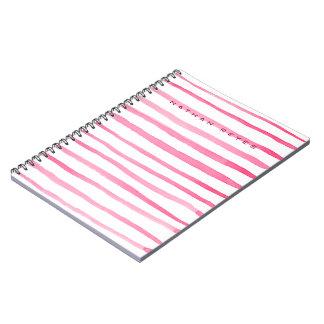 海洋の赤と白のストライプな水彩画 ノートブック