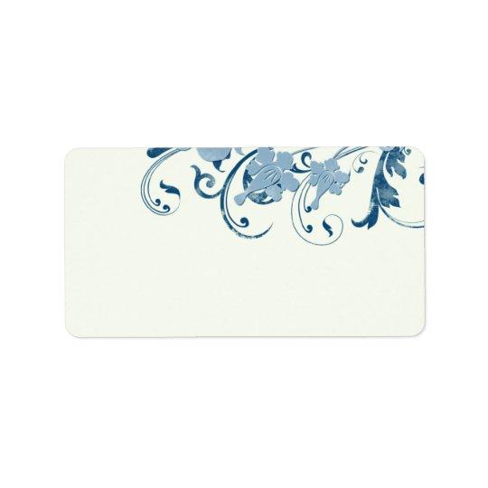 海洋の青い花の結婚式のブランクの宛名ラベル ラベル