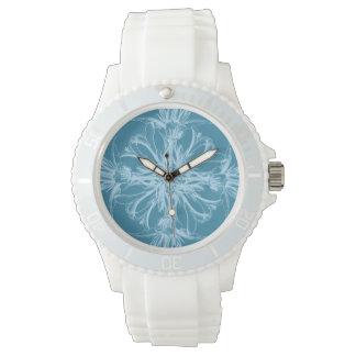海洋の青のダマスク織の熱帯花 腕時計