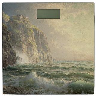 海洋波の崖の海のビーチのコーンウォールの体重計 体重計