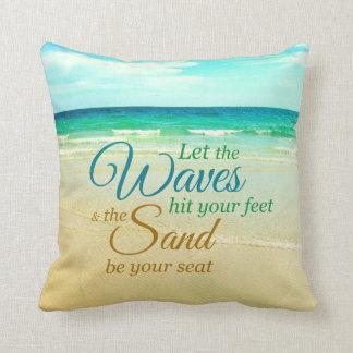 海洋波の引用文のビーチの枕 クッション
