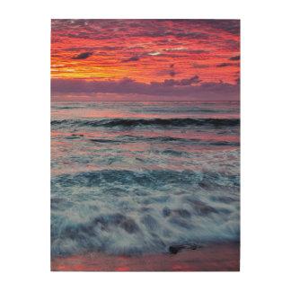 海洋波上の日没、カリフォルニア ウッドウォールアート