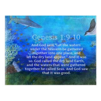 海洋生物および自然についての起源の聖書の詩 ポストカード