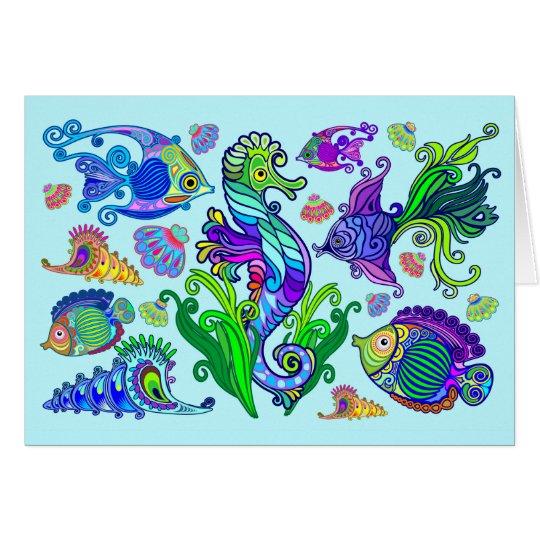 海洋生物のエキゾチックな魚及びタツノオトシゴ グリーティングカード