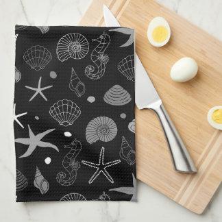 海洋生物の黒パターン キッチンタオル