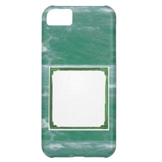 海緑のボーダーイメージ/文字のホールダー iPhone5Cケース