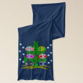 海藻のフグ家族 スカーフ