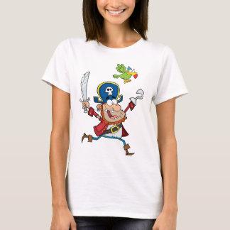海賊およびオウムの漫画 Tシャツ