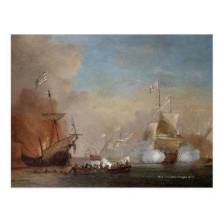 海賊は英国の海軍艦艇の絵画を攻撃します ポストカード