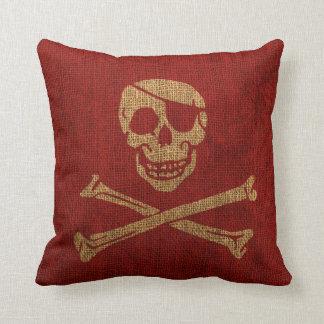 海賊スカルの素朴な赤 クッション
