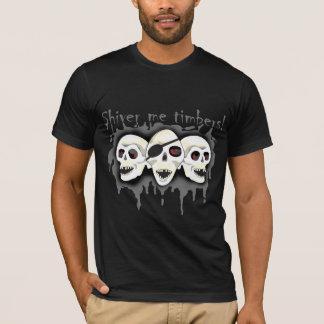 海賊スカルは私材木メンズワイシャツ2震えます Tシャツ