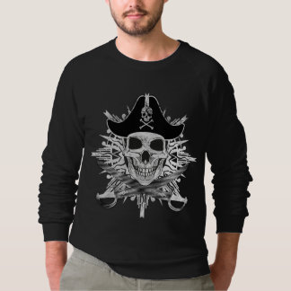 海賊スカル及びカットラスの服装のRaglanのスエットシャツ スウェットシャツ