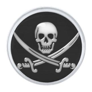 海賊スカル及び剣の骨が交差した図形(TLAPD) シルバー ラペルピン