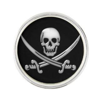 海賊スカル及び剣の骨が交差した図形(TLAPD) ラペルピン