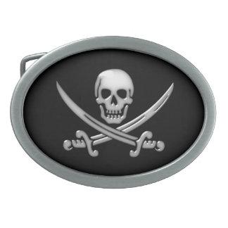 海賊スカル及び剣の骨が交差した図形(TLAPD) 卵形バックル