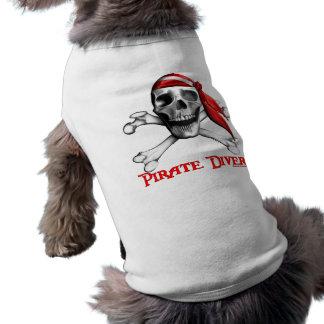 海賊ダイバー犬のTシャツ ペット服