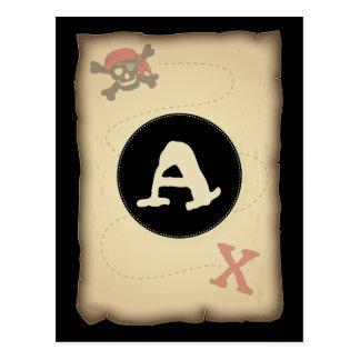海賊パーティーの旗の旗布の旗の郵便はがき ポストカード