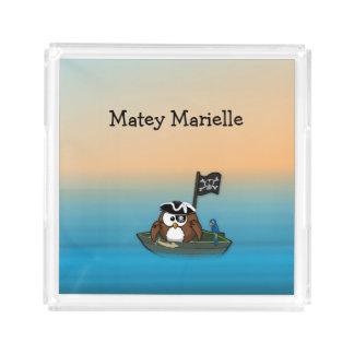 海賊フクロウのアクリルの皿 アクリルトレー