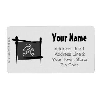 海賊ブラシの旗 ラベル