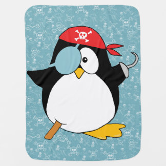 海賊ペンギンのグラフィック ベビー ブランケット