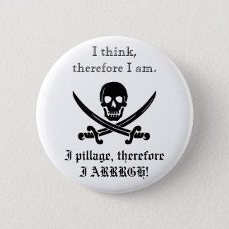 海賊ボタン; 私は考えます、従って私は3才です 5.7CM 丸型バッジ