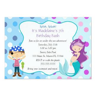 海賊人魚の招待状の子供の誕生日のパーティー カード