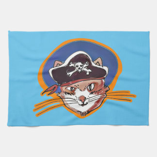 海賊子猫の漫画のスタイルのおもしろいなイラストレーション キッチンタオル