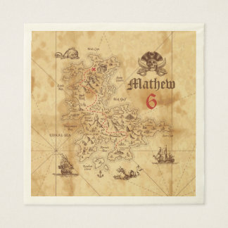 海賊宝物地図の誕生日の紙ナプキン スタンダードランチョンナプキン