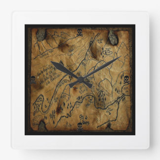海賊宝物地図Hainesアラスカ スクエア壁時計