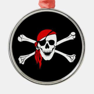 海賊旗のどくろ印の海賊旗 メタルオーナメント