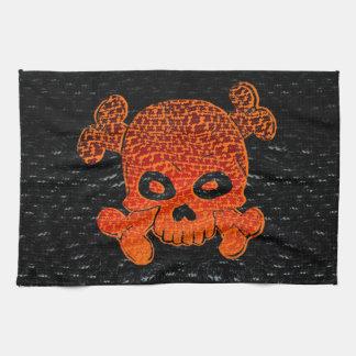 海賊旗のカスタムな火はオレンジBkg衰退します キッチンタオル