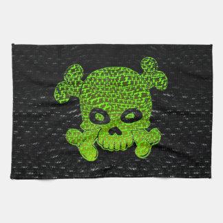 海賊旗のカスタムな緑は青いBkg衰退します キッチンタオル