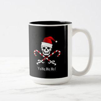 海賊旗のクリスマスのキャンディ・ケーンのマグ ツートーンマグカップ