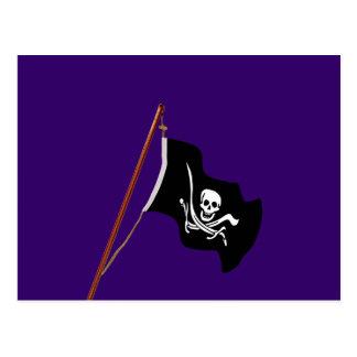 海賊旗のスカルおよび交差させた剣 ポストカード