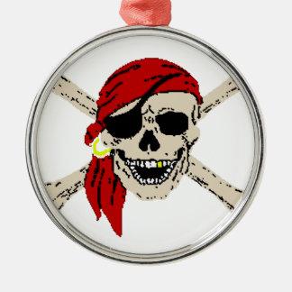 海賊旗の海賊スカルは赤いバンダナの骨を抜きます メタルオーナメント