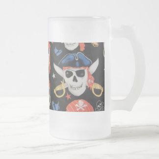 海賊旗の海賊スカル フロストグラスビールジョッキ