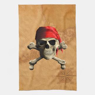 海賊旗の海賊地図 キッチンタオル