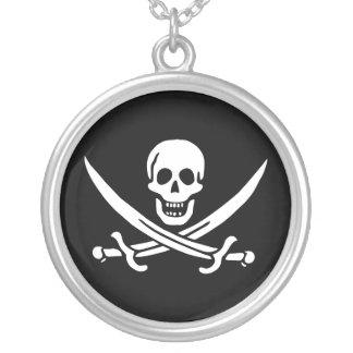 海賊旗の海賊旗のネックレス シルバープレートネックレス