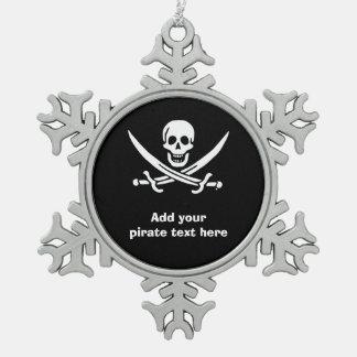 海賊旗の海賊旗 スノーフレークピューターオーナメント