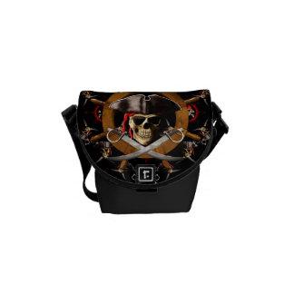 海賊旗の海賊車輪 メッセンジャーバッグ